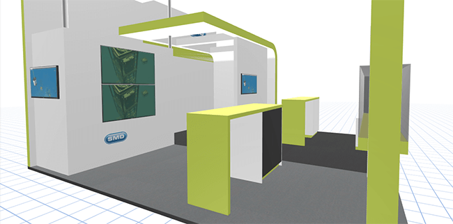 Build trade show exhibit booth with 3d configurator