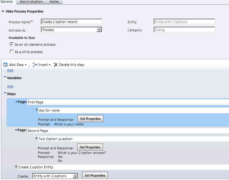 Create a dialog in CRM