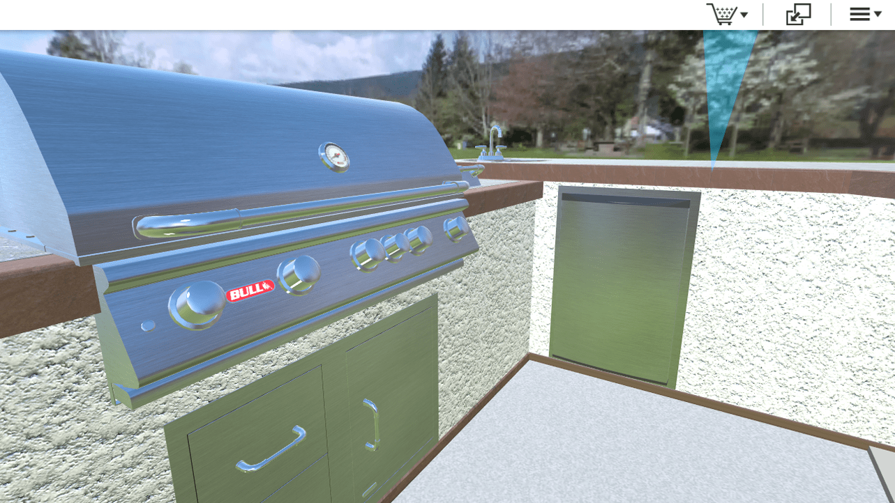 Custom design and buy Bull's outdoor kitchens – powered by Powertrak 3D Product Configurator.