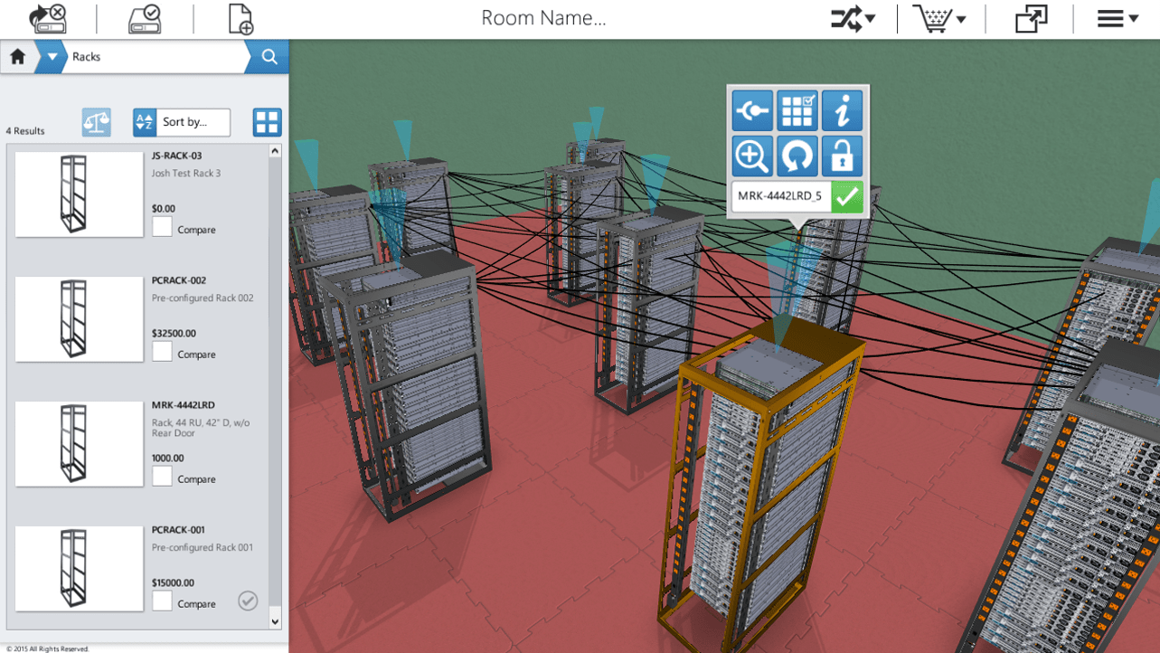 Place Designed Racks into virtual 3D Room