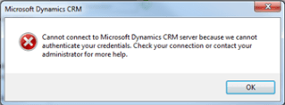 Microsoft Dynamics CRM 2011 Outlook Client Error