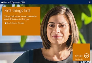Dynamics CRM First Things First Screen