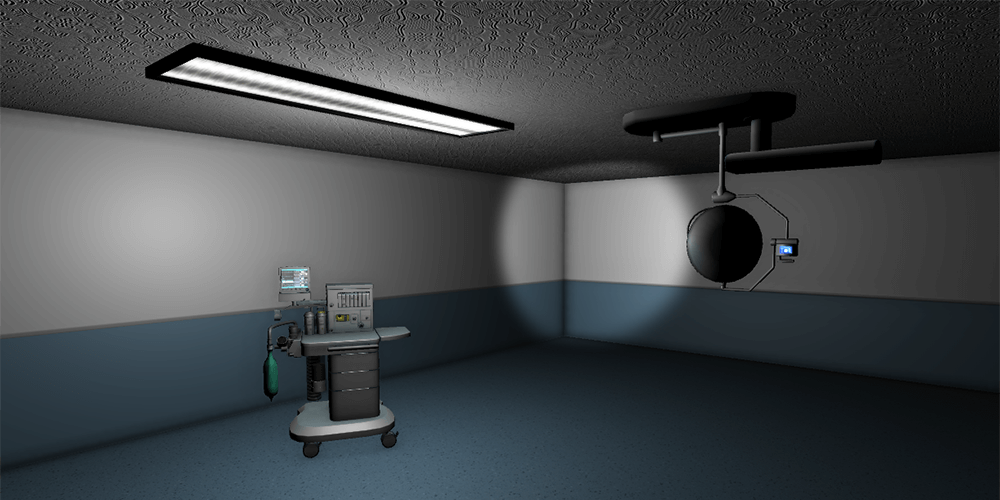 Ceiling lighting and medical lights in a visual configurator